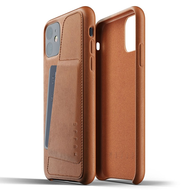 Mujjo Full Leather Wallet iPhone 11 bruin - 2