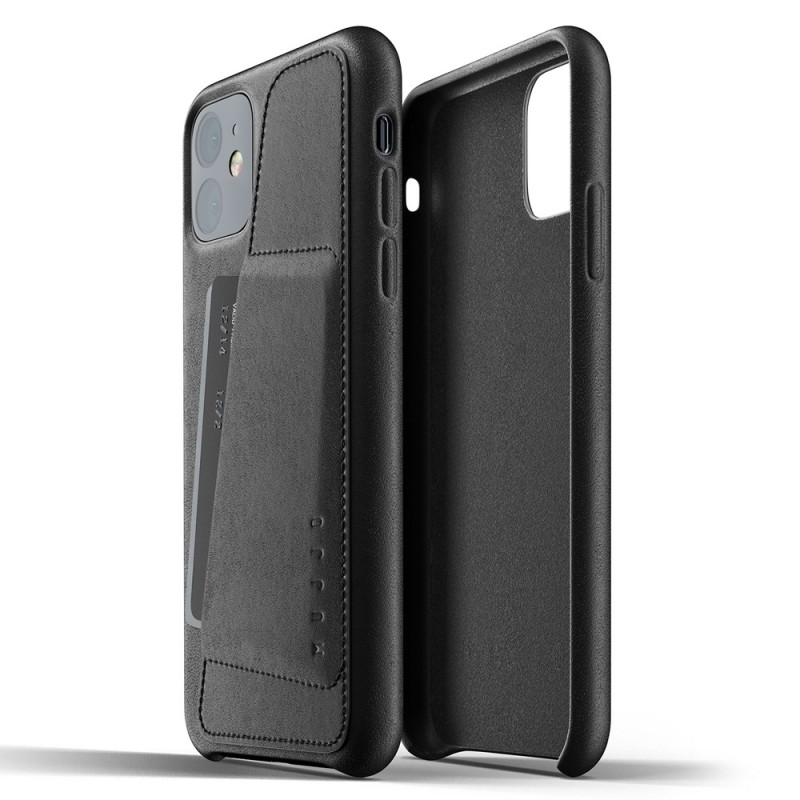 Mujjo Full Leather Wallet iPhone 11 zwart - 2