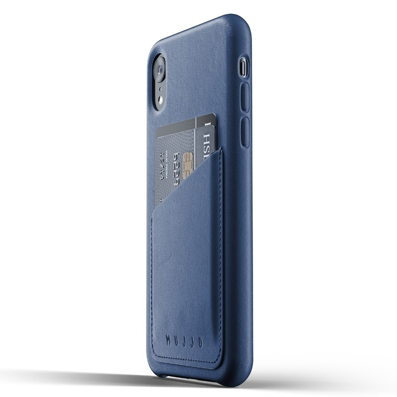 Mujjo Full Leather Wallet Case iPhone XR Case Blauw 03