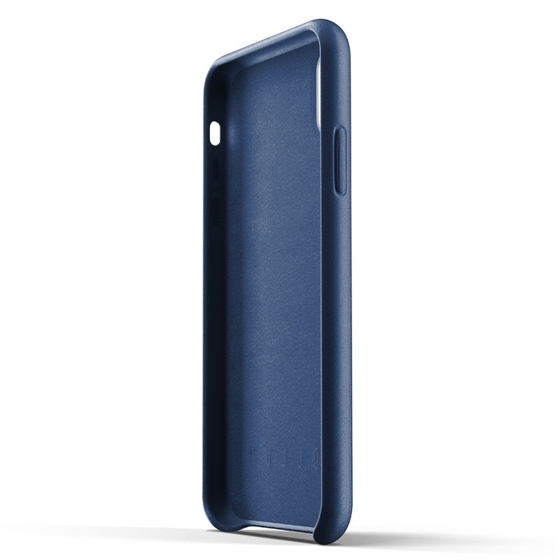 Mujjo Full Leather Wallet Case iPhone XR Case Blauw 04