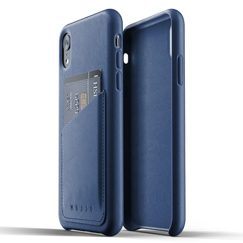 Mujjo Full Leather Wallet Case iPhone XR Case Blauw 05