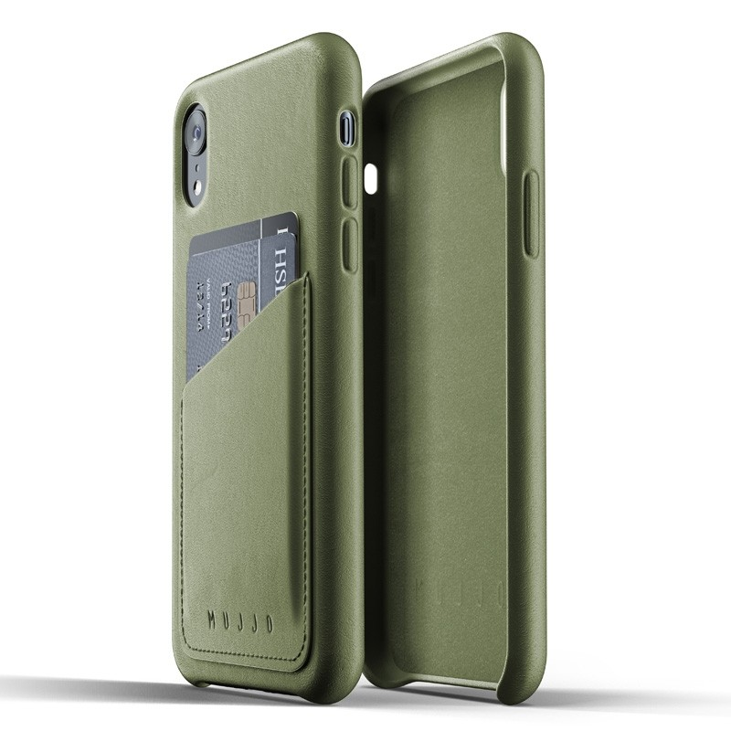 Mujjo Lederen iPhone XR Wallet Case Olijf 05