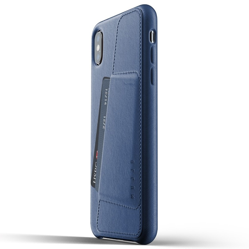 Mujjo Full Leather Wallet Case iPhone XS Max blauw 01