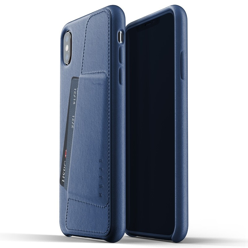 Mujjo Full Leather Wallet Case iPhone XS Max blauw 03