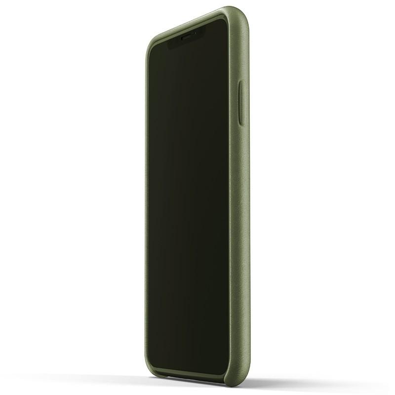 Mujjo Full Leather Wallet Case iPhone XS Max Olijfgroen 02