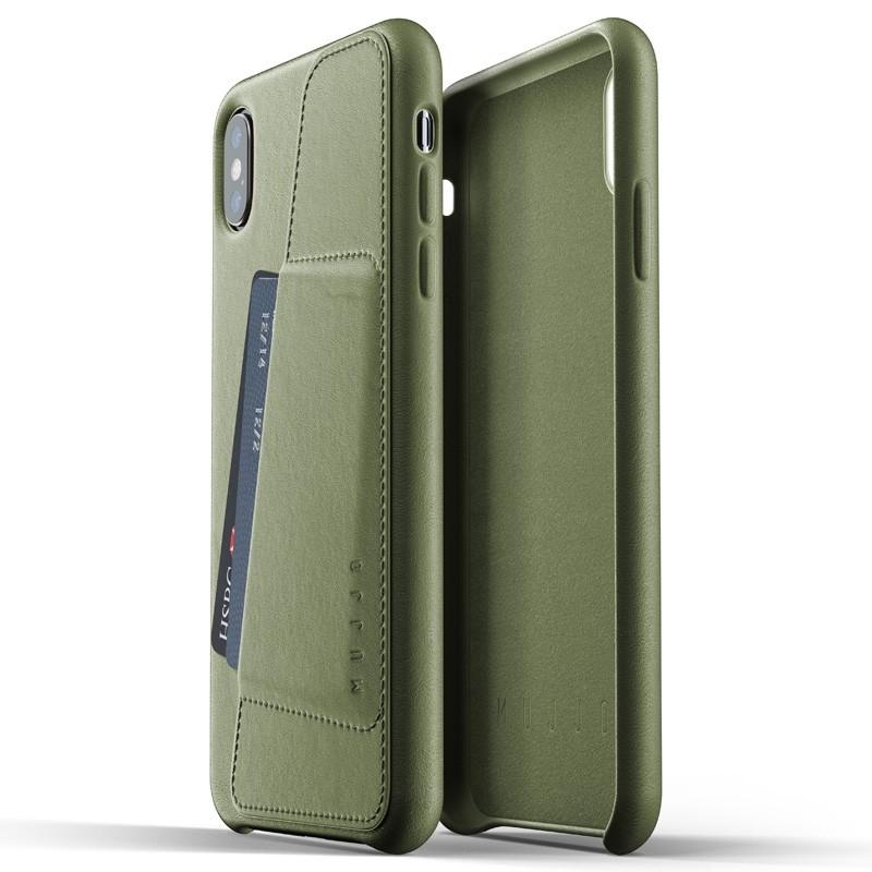 Mujjo Full Leather Wallet Case iPhone XS Max Olijfgroen 04