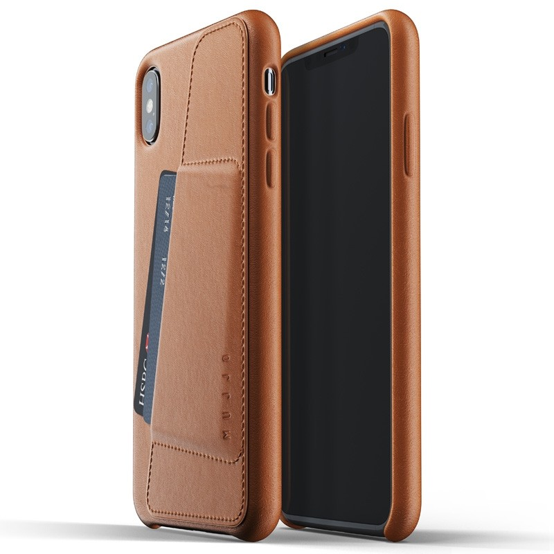 Mujjo Full Leather Wallet Case iPhone XS Max Tan bruin 03