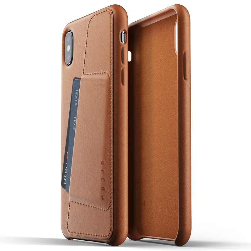 Mujjo Full Leather Wallet Case iPhone XS Max Tan bruin 04