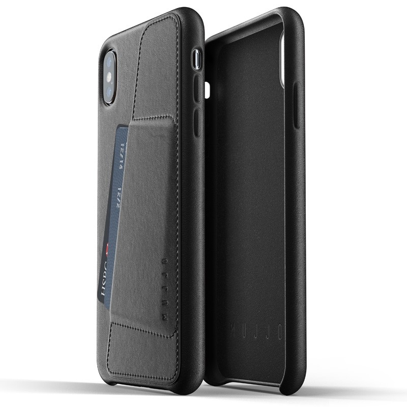 Mujjo Full Leather Wallet Case iPhone XS Max zwart 03