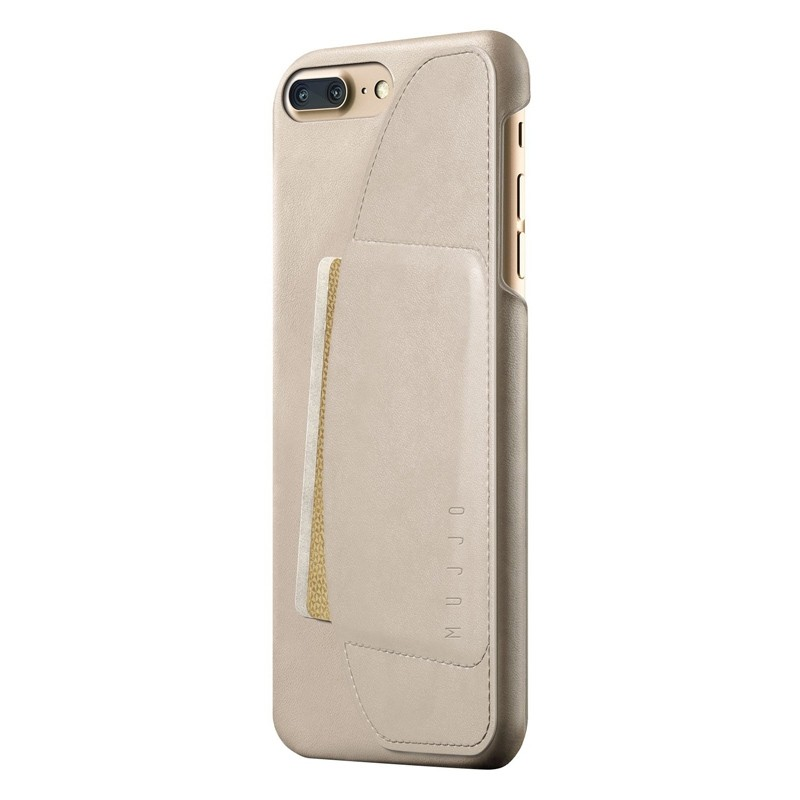 Mujjo Leather Wallet Case iPhone 8 Plus/7 Plus champagne 01