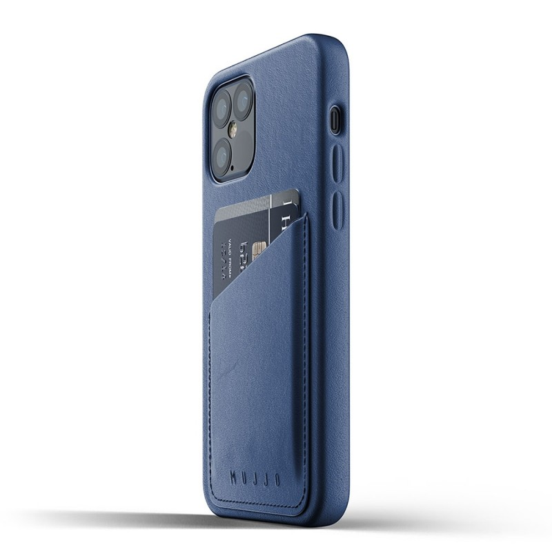 Mujjo Leather Wallet iPhone 12 / iPhone 12 Pro 6.1 Blauw - 4
