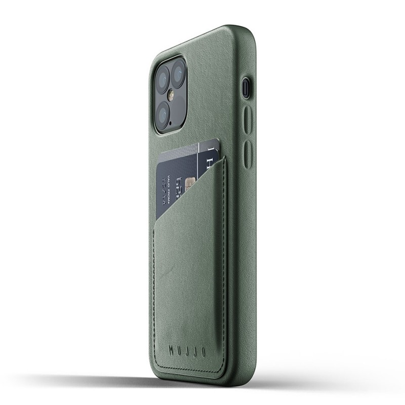Mujjo Leather Wallet iPhone 12 / iPhone 12 Pro 6.1 Groen - 4