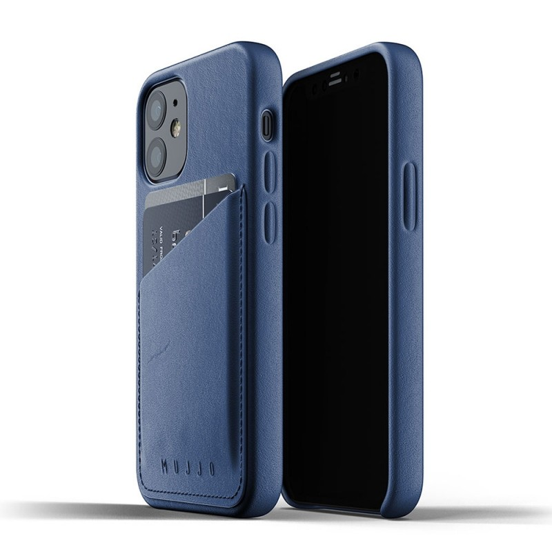 Mujjo Leather Wallet iPhone 12 Mini Blauw - 1