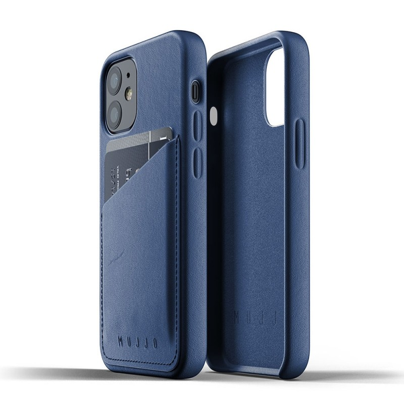 Mujjo Leather Wallet iPhone 12 Mini Blauw - 3