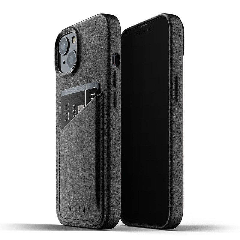 Mujjo Leather Wallet iPhone 13 Zwart - 1