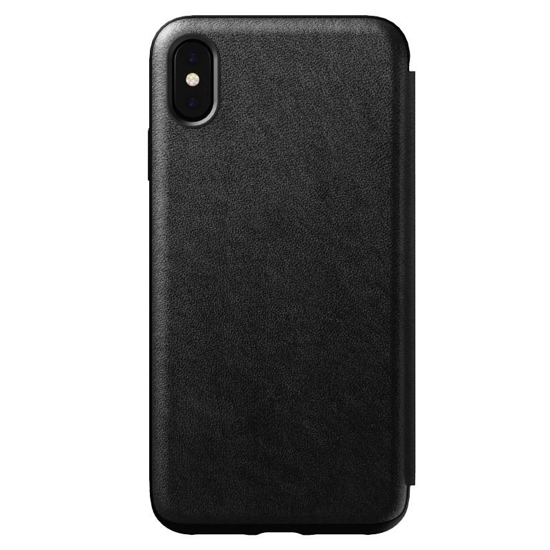 Nomad Leather Folio iPhone XS Max Zwart 01