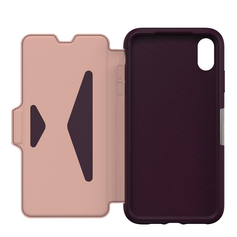 Otterbox Strada Lederen iPhone XR Folio Hoes Royale Purple Paars 03