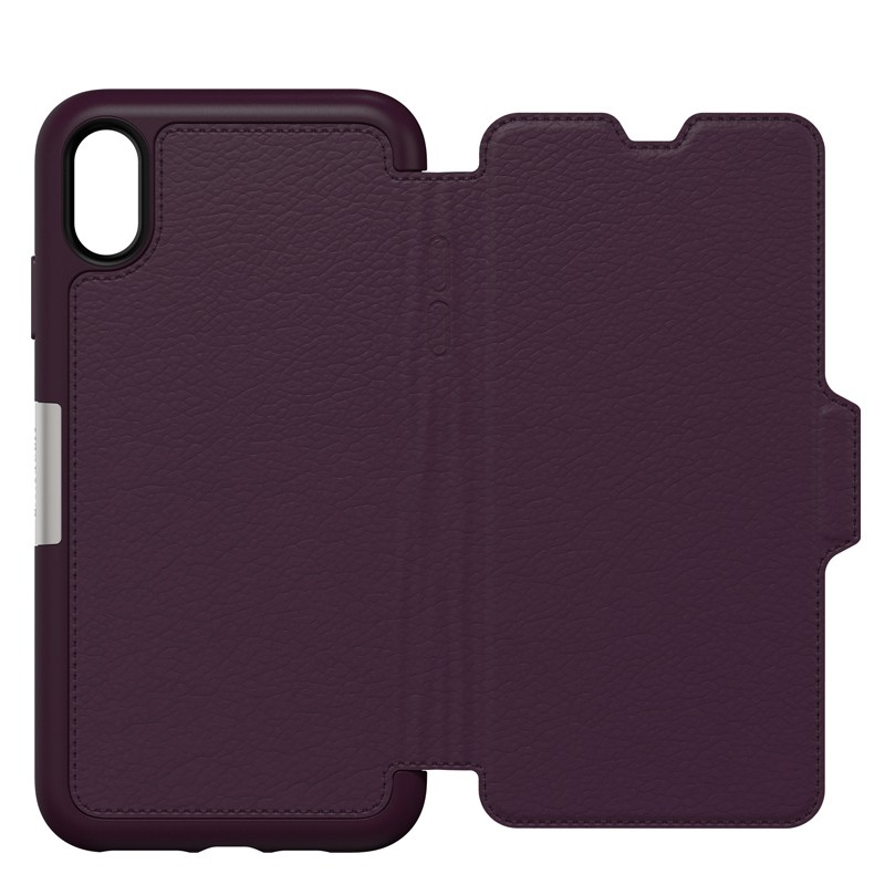 Otterbox Strada Lederen iPhone XR Folio Hoes Royale Purple Paars 05