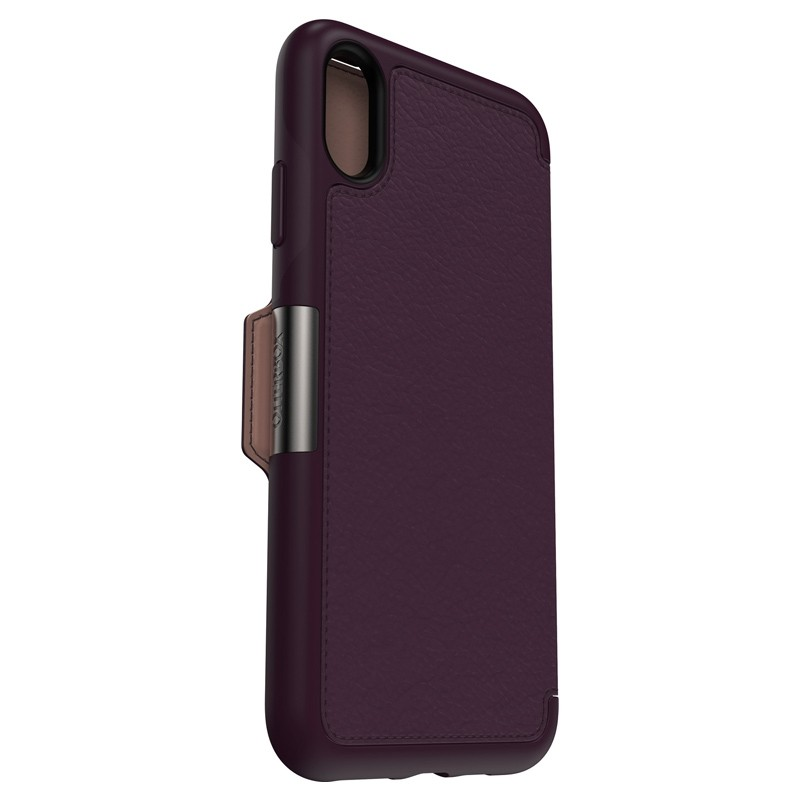 Otterbox Strada Lederen iPhone XR Folio Hoes Royale Purple Paars 06