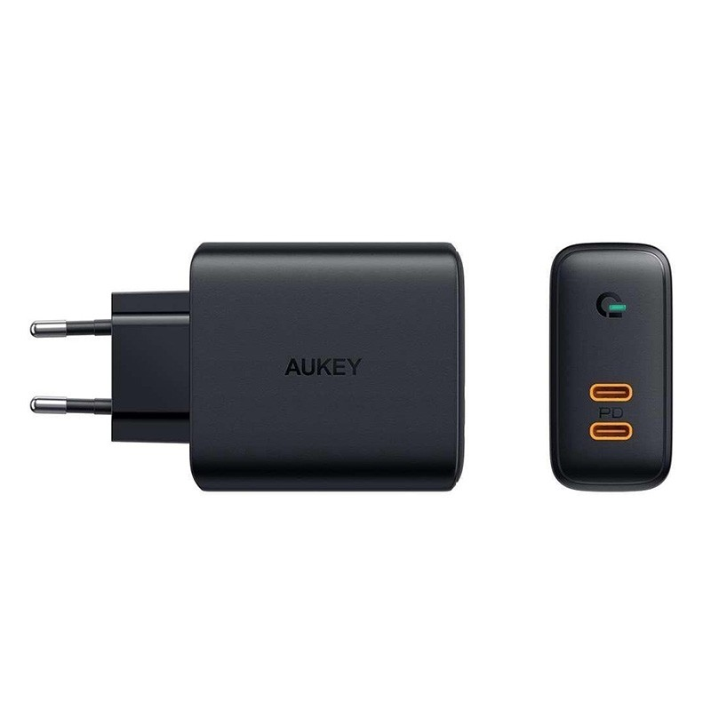 Aukey Dual-Port Oplader 36W USB-C en Power Delivery Zwart 01