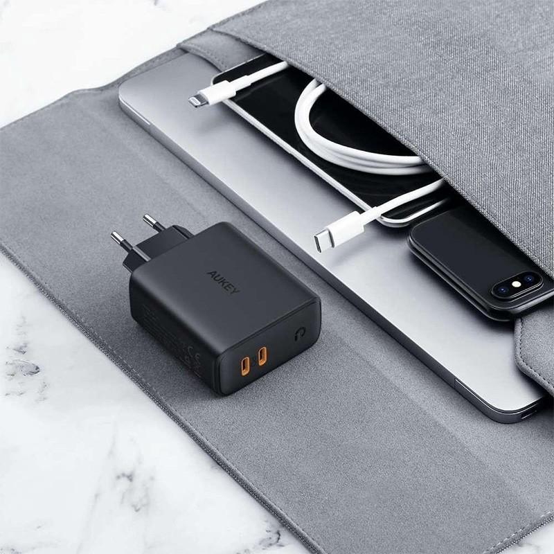 Aukey Dual-Port Oplader 36W USB-C en Power Delivery Zwart 05