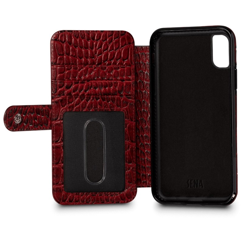 Sena Wallet Book Classic iPhone X/Xs Croco Rood - 4