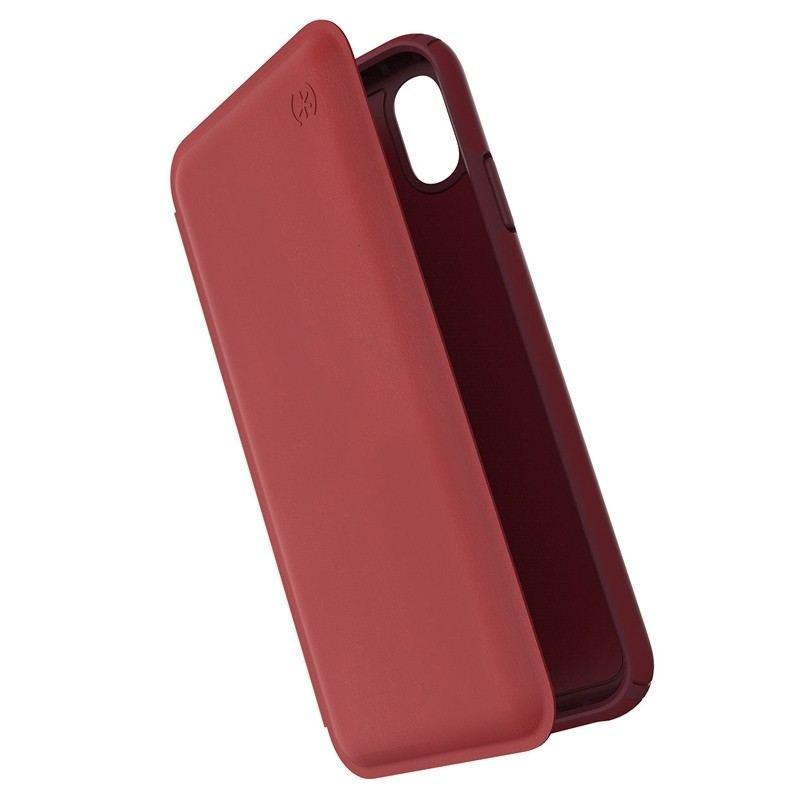 Speck Presidio Leather Folio iPhone XS Max Case Rood 01