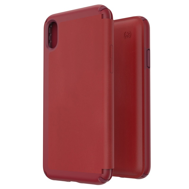 Speck Presidio Leather Folio iPhone XS Max Case Rood 05