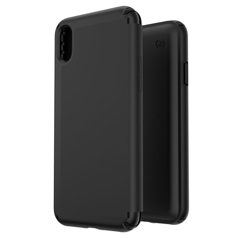 Speck Presidio Leather Folio iPhone XS Max Case Zwart 05