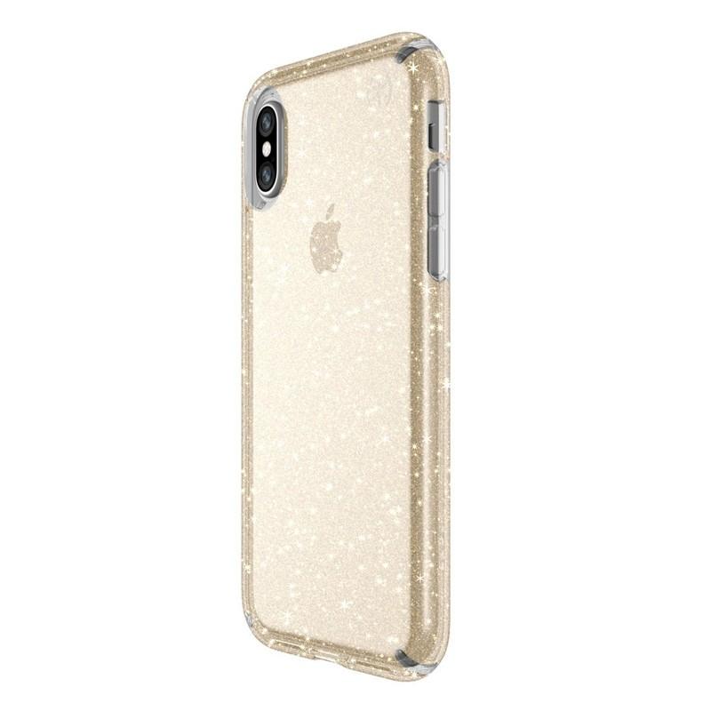 Speck Presidio Clear Glitter iPhone X/XS Hoesje Goud - 2