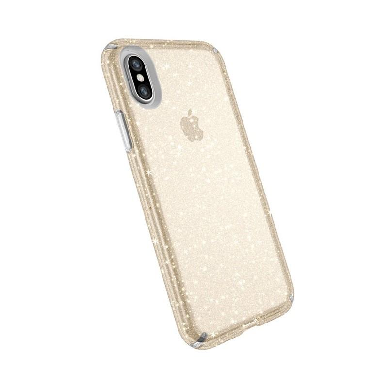 Speck Presidio Clear Glitter iPhone X/XS Hoesje Goud - 5