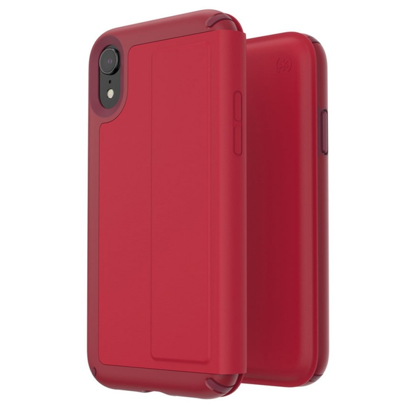 Speck Presidio Leather Folio iPhone XR Hoesje Rood 07