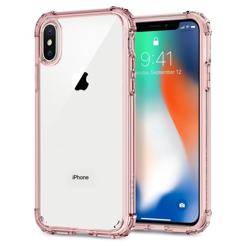 Spigen Crystal Shell iPhone X/Xs Hoesje Transparant/Roze - 1