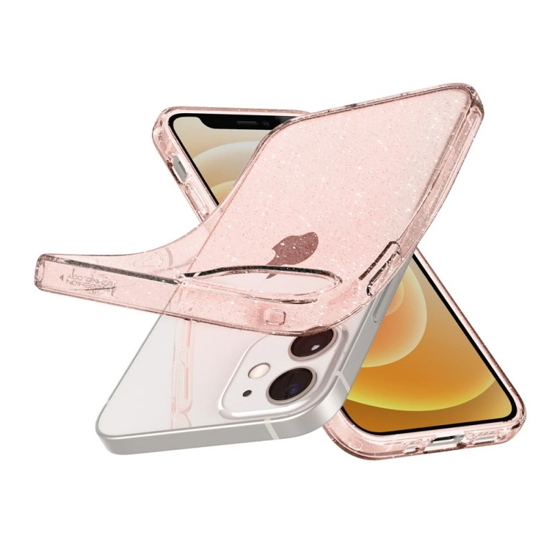 Spigen Liquid Crystal Glitter iPhone 12 Mini Roze - 2