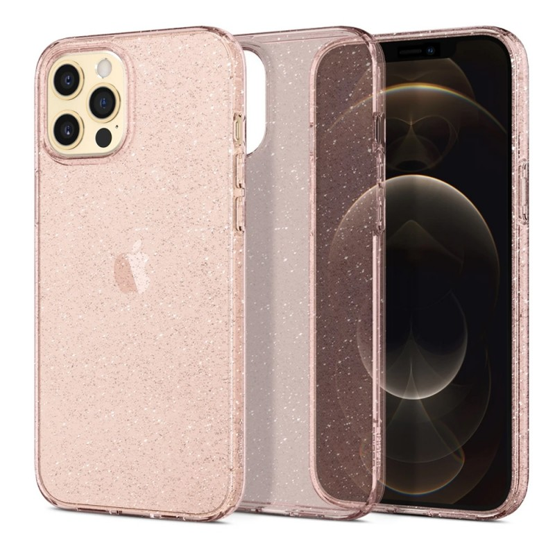 Spigen Liquid Crystal Glitter iPhone 12 Pro Max Roze - 1