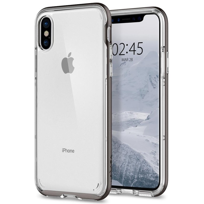 Spigen - Neo Hybrid Crystal iPhone 8 Hoesje gunmetal - clear 01