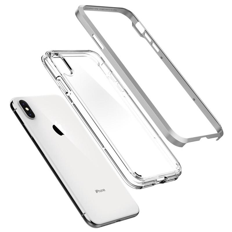 Spigen Neo Hybrid Crystal iPhone XS Max Hoesje Silver Transparant 03
