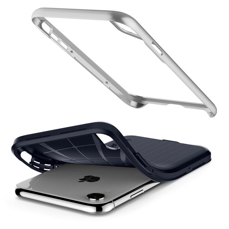Spigen Neo Hybrid Case iPhone XR Silver Blue 05