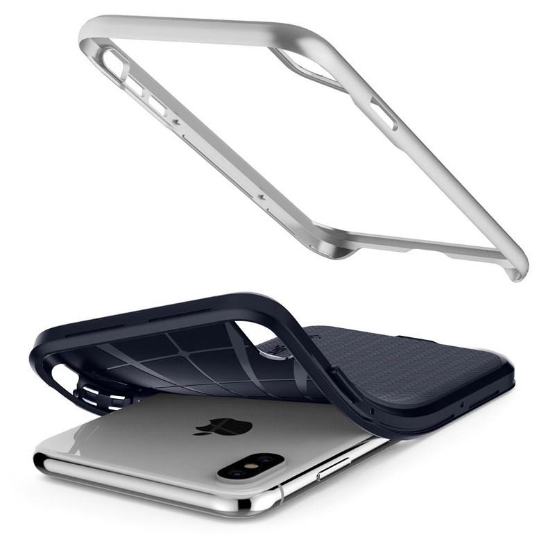 Spigen Neo Hybrid iPhone XS Max Hoesje Satin SIlver 04