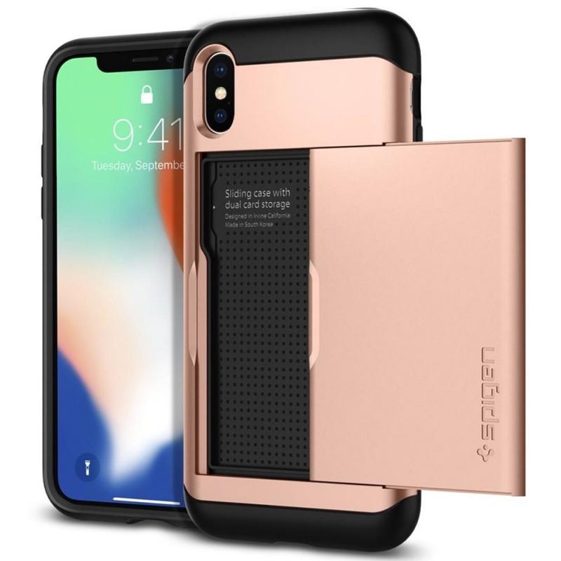 Spigen Slim Armor CS iPhone X/Xs Hoesje Roze Zwart 01