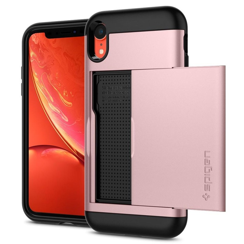 Spigen Slim Armor CS iPhone XR Hoesje Roze Zwart 04