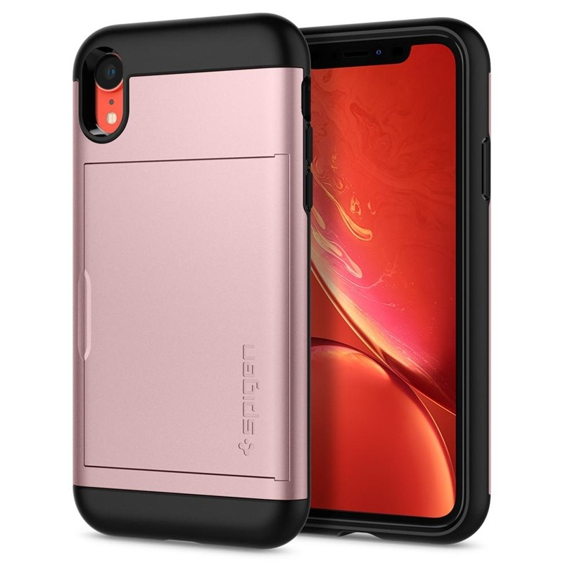 Spigen Slim Armor CS iPhone XR Hoesje Roze Zwart 02