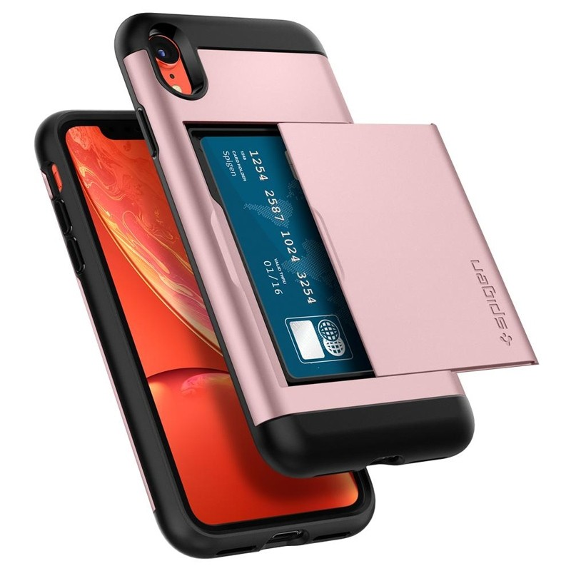 Spigen Slim Armor CS iPhone XR Hoesje Roze Zwart 01