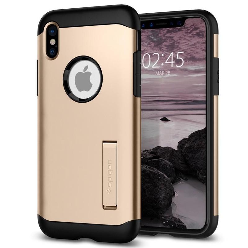 Spigen - Slim Armor iPhone 8 Hoesje Champagne Gold 01