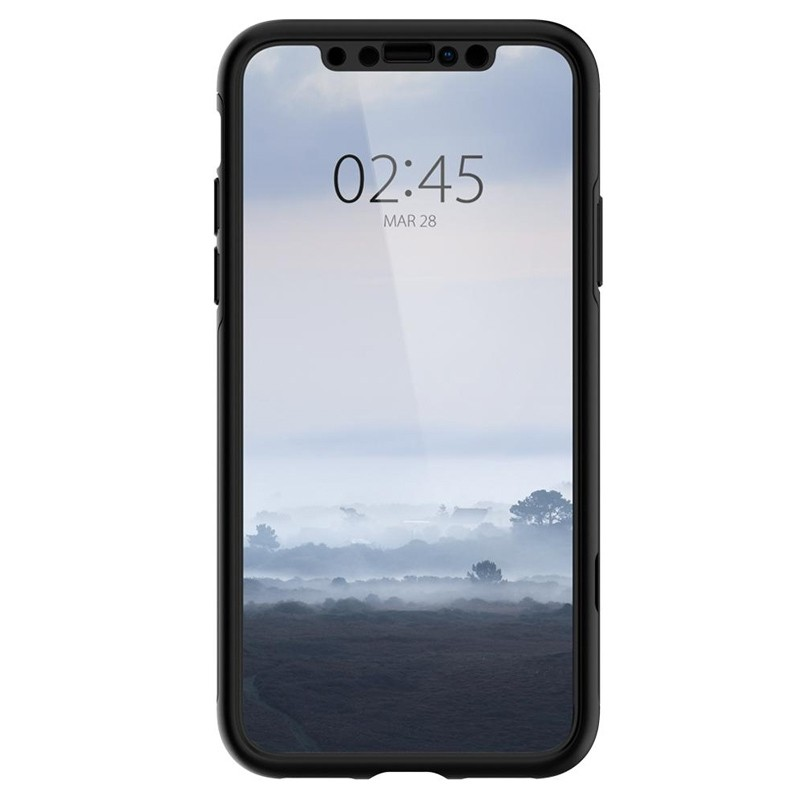 Spigen Thin Fit 360 Case iPhone XS Max + Glass Protector Zwart 02