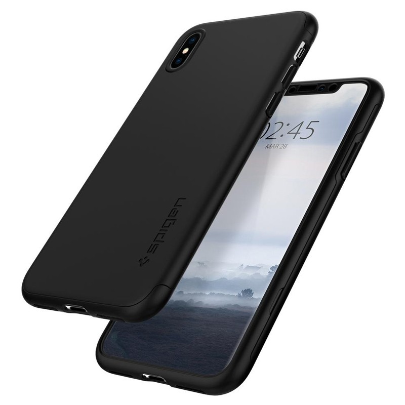 Spigen Thin Fit 360 Case iPhone XS Max + Glass Protector Zwart 05