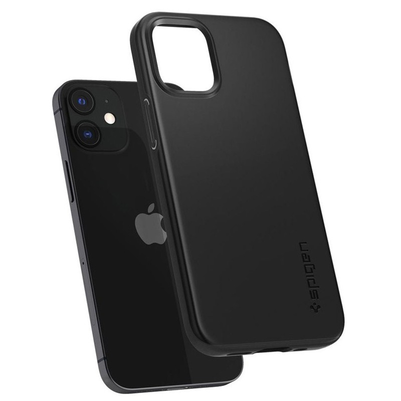 Spigen - Thin Fit Case iPhone 12 Mini 5.4 inch zwart 05