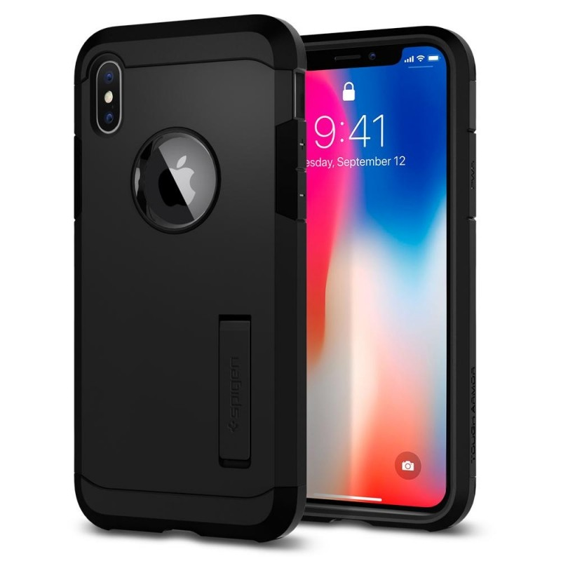 Spigen Tough Armor Case iPhone X/Xs Hoesje Mat Zwart - 1