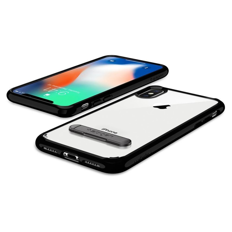 Spigen Ultra Hybrid S iPhone X/Xs Hoesje Zwart/Transparant - 4