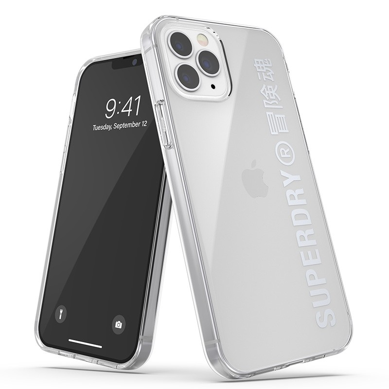 Superdry Snap Case Clear iPhone 12 / iPhone 12 Pro zilver 01